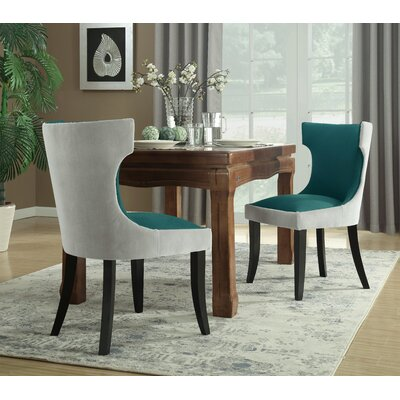 Maire Upholstered Dining Chair Color: Light Gray/Teal
