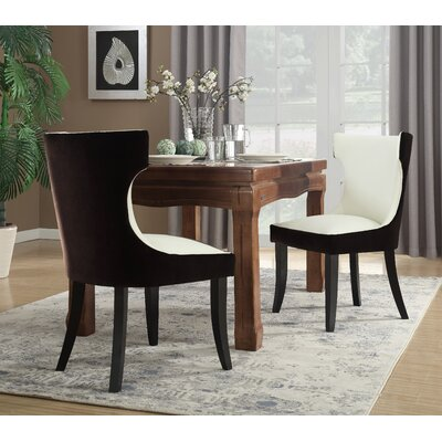 Maire Upholstered Dining Chair Color: Brown/Light Beige