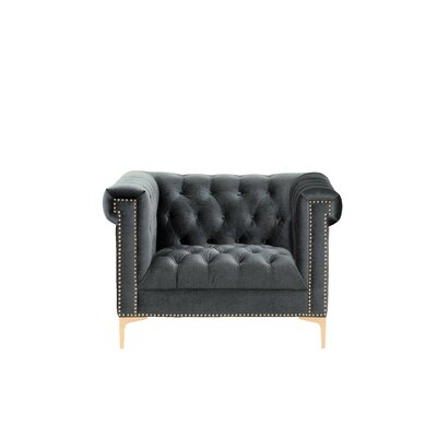Bea Velvet Club Chair Upholstery: Grey