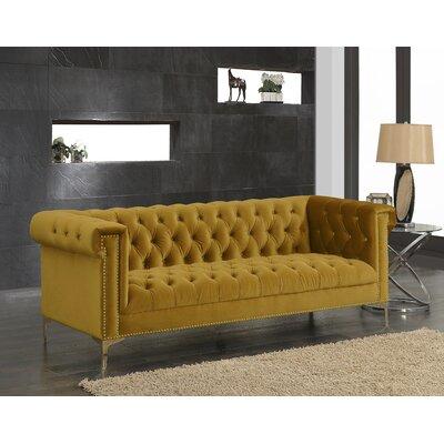 Bea Velvet Chesterfield Sofa Upholstery: Cognac
