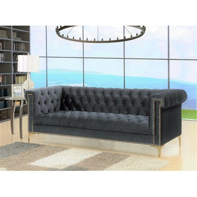 Bea Velvet Chesterfield Sofa Upholstery: Grey