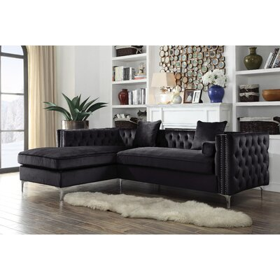 Birchley Velvet Modern Contemporary Button Tufted Sectional Orientation: Left Hand Facing, Upholstery: Black