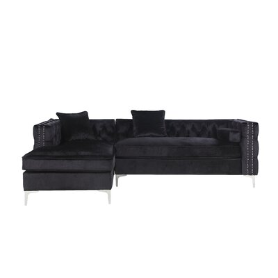 Neysa Contemporary Sectional Upholstery: Black, Orientation: Left Hand Facing
