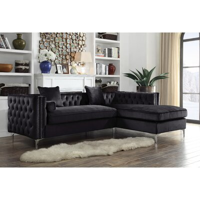Birchley Velvet Modern Contemporary Button Tufted Sectional Orientation: Right Hand Facing, Upholstery: Black