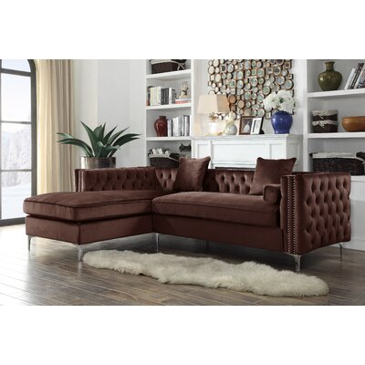 Neysa Contemporary Sectional Upholstery: Brown, Orientation: Left Hand Facing