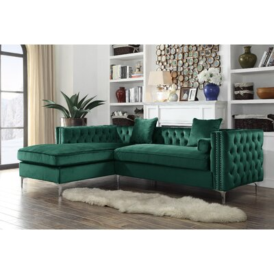 Birchley Velvet Modern Contemporary Button Tufted Sectional Orientation: Left Hand Facing, Upholstery: Green
