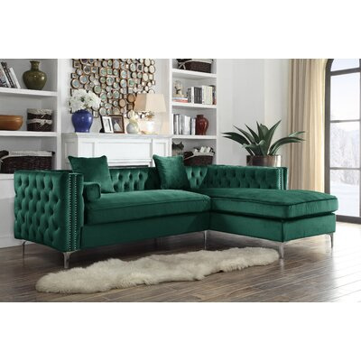 Neysa Contemporary Sectional Upholstery: Green, Orientation: Right Hand Facing
