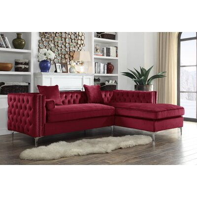 Birchley Velvet Modern Contemporary Button Tufted Sectional Orientation: Right Hand Facing, Upholstery: Red