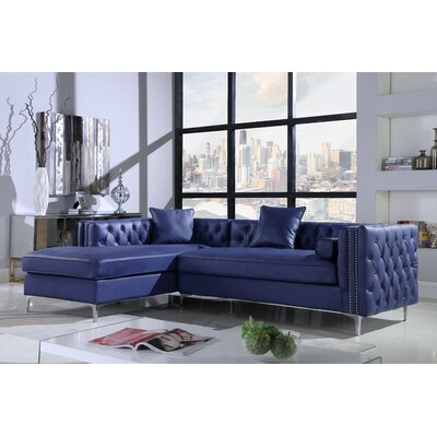 Neysa Contemporary Sectional Upholstery: Navy, Orientation: Left Hand Facing