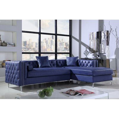 Neysa Contemporary Sectional Upholstery: Navy, Orientation: Right Hand Facing