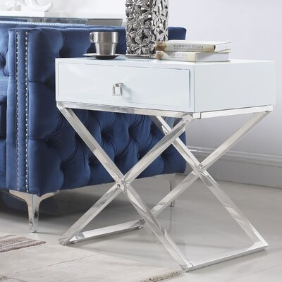 Sergey Wood Top End Table Table Top Color: White