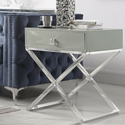 Sergey Wood Top End Table Table Top Color: Gray