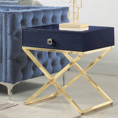 Sergey Wood Top End Table Table Top Color: Navy