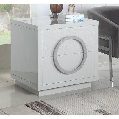 Keshun 2 Drawer Nightstand Color: White