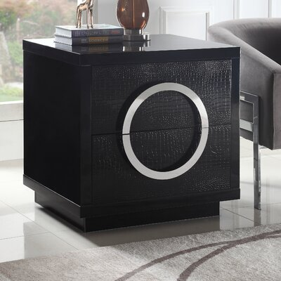 Keshun 2 Drawer Nightstand Color: Black