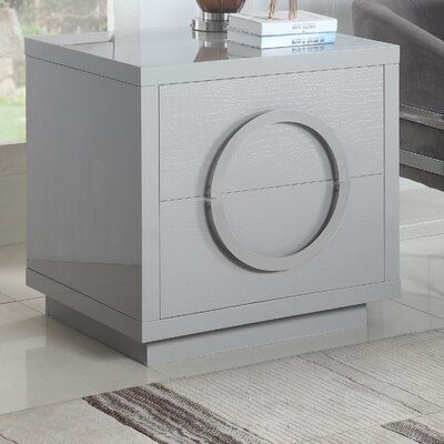 Keshun 2 Drawer Nightstand Color: Gray