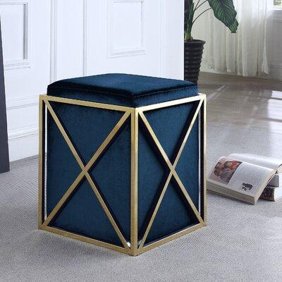 Ayoub Cube Ottoman Upholstery: Navy