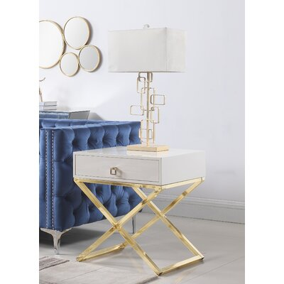 Sergey Wood Top End Table Table Top Color: Beige