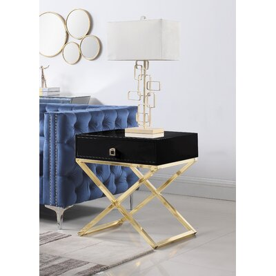 Sergey Wood Top End Table Table Top Color: Black
