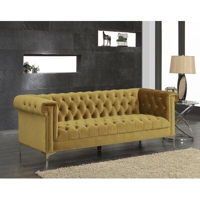 Bea Velvet Chesterfield Sofa Upholstery: Golden Mustard