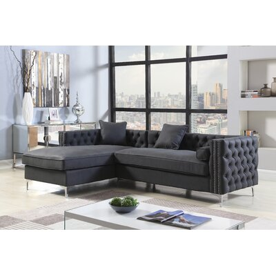 Marlon Button Tufted Modular Sectional Upholstery: Black, Orientation: Left Hand Facing