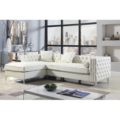 Marlon Button Tufted Modular Sectional Upholstery: Cream/White, Orientation: Left Hand Facing