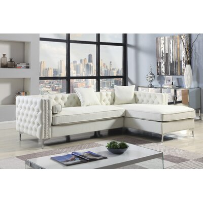Marlon Button Tufted Modular Sectional Upholstery: Cream/White, Orientation: Right Hand Facing