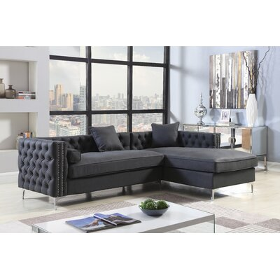 Marlon Button Tufted Modular Sectional Upholstery: Black, Orientation: Right Hand Facing