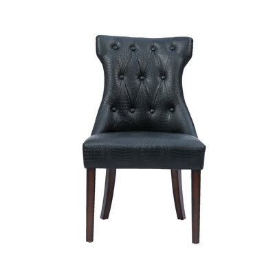 Delfin Button Upholstered Dining Chair Color: Black