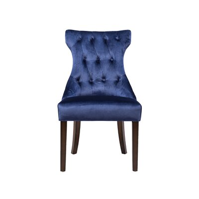 Delfin Button Tufted Upholstered Dining Chair Color: Navy