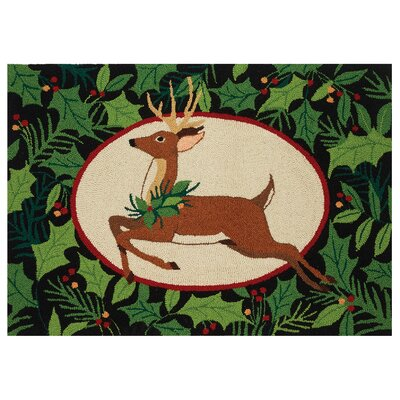 Woodland Deer Holiday Green/Brown Area Rug