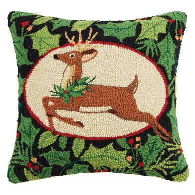 Deer Woodland Hook Wool Throw Pillow