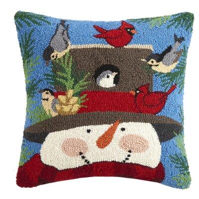 Snowman Hook Wool Throw Pillow