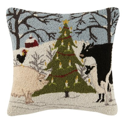 Farm Animal Christmas Tree Wool Throw Pillow