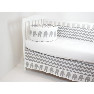 Beryl Elephant Cotton 2 Piece Reversible Bumper and Skirt (Best Seller) Crib Bedding Comforter Set