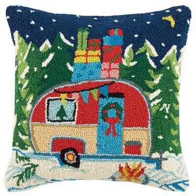 Winter Camper Hook Wool Throw Pillow