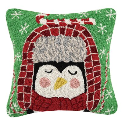 Penguin Candycane Hook Wool Throw Pillow