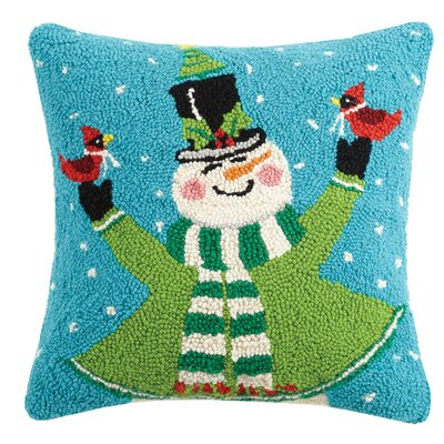 Jolly Snowman Hook Wool Throw Pillow