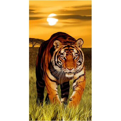 Bengal Sunset Tiger Endanger Wildlife Beach Towel