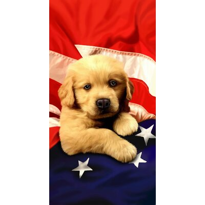 Puppy American Flag Velour Premium Beach Towel
