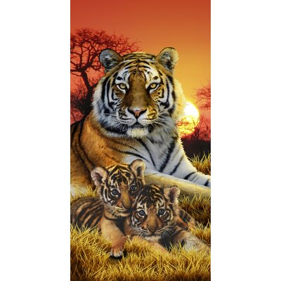 Bengal Tiger Family Endanger Wildlife Beach Towel