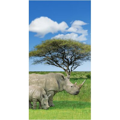 Rhino and Baby Endanger Wildlife Beach Towel