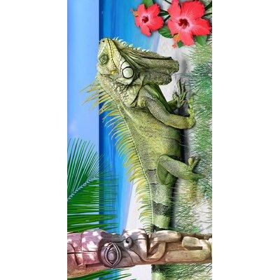 Caribbean Iguana Endanger Wildlife Beach Towel