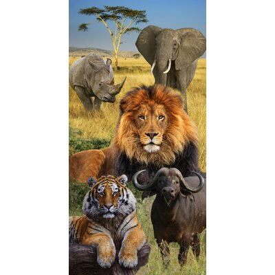 Big Five Elephant African Endanger Wildlife Beach Towel