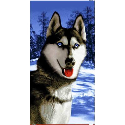 Siberian Alaska Husky Endangered Wildlife Beach Towel