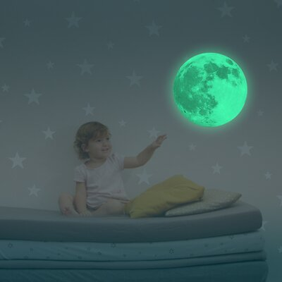Alethia Glow Moon Wall Decal Color: Yellow