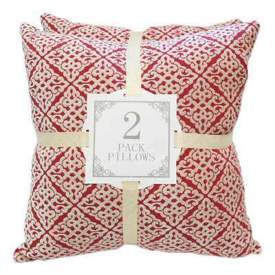 Chenille Jacquard Throw Pillow Color: Red