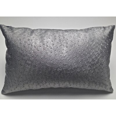 Ostrich-Textured Faux Leather Lumbar Pillow Color: Silver