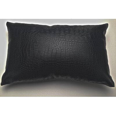 Crocodile-Textured Faux Leather Lumbar Pillow Color: Black