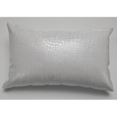 Crocodile-Textured Faux Leather Lumbar Pillow Color: White
